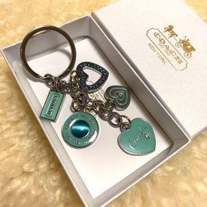 Coach keychain hearts gem Blue NEW